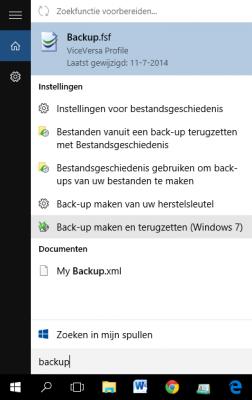 Backup zoeken