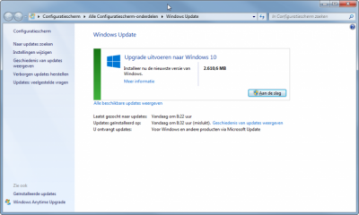 upgrade uitvoeren via windows update