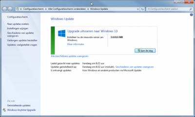 upgrade uitvoeren via windows update