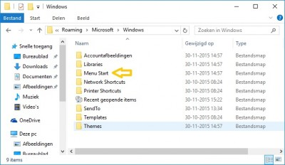 Opstarten map in Windows 10 I